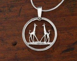 Sterling Silver Giraffe Pendant, Hand Cut Giraffe Coin, Sterling Silver Giraffe Jewelry, ( # 266S )