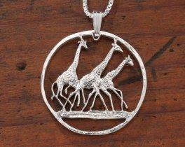 "Sterling Silver Giraffe pendant, Hand Cut Tanzania Giraffe Coin, African Wild Life Jewelry, 1 1/4 "" in Diameter, ( # 380S )"