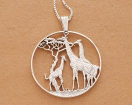 "Sterling Silver Giraffe Pendant, Sterling Silver Giraffe Jewelry, Giraffe Jewelry, African Wild Life Jewelry, 1 1/2 "" diameter, ( # 894S )"