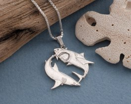 "Sterling Silver Great White Shark Pendant, Hand Cut Australian Great White Shark Coin, Great White Shark Jewelry, 1"" in Diameter,( # 648BS )"