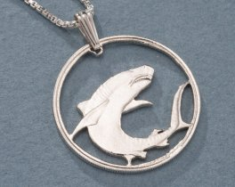 "Sterling Silver Great White Shark Pendant, Hand Cut Soloman Islands 100 Dollar Great White Shark Coin,1"" in Diameter, ( # 671S )"