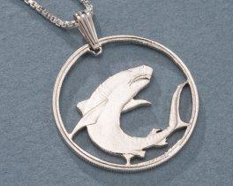 "Sterling Silver Great White Shark Pendant, Hand Cut Soloman Islands 100 Dollar Great White Shark Coin,1"" in Diameter, ( # 671S )"