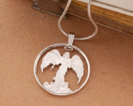 "Sterling Silver Guardian Angel Pendant, Silver Angel Necklace, Sterling Silver Religious Jewelry, 1"" diameter, ( # 836S )"