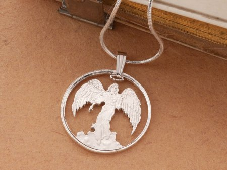 """Sterling Silver Guardian Angel Pendant, Silver Angel Necklace, Sterling Silver Religious Jewelry, 1"""" diameter, ( # 836S )"""