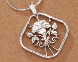 "Sterling Silver Hibiscus Flower Pendant, Hand Cut Bahama Flower Coin, Sterling Silver Flower Jewelry, 1"" in Diameter, ( # 18S )"