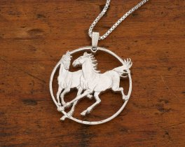"Sterling Silver Horse Pendant and Necklace, Hand cut Horse coin pendant, Silver Equestrian Jewelry, 1 1/4"" diameter, ( # 780S )"