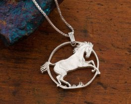"Sterling Silver Horse Pendant and Necklace, Hand cut Isle Of Man Horse Coin Pendant, Equestrian Jewelry, 1 1/8"" diameter, ( #781S )"
