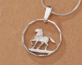 "Sterling Silver Horse Pendant, Hand Cut 10 Cent Horse Coin from Uruquay, Horse Jewelry, 3/4"" in Diameter, ( # 300S )"