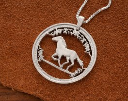 "Sterling Silver Horse Pendant , Hand cut Australian Horse Coin, Silver Equestrian Jewelry, Year Of The Horse  1 1/4"" in Diameter, ( # 742S )"