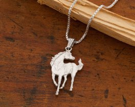 """Sterling Silver Horse Pendant , Hand Cut Silver Horse Coin Pendant, Sterling Silver Horse Jewelry, 7/8"""" in Diameter, ( # 645BS )"""