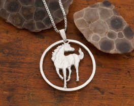 Sterling Silver Horse Pendant, Hand Cut Sterling Silver Horse Coin, Silver Equestrian Jewelry, ( # 645S )