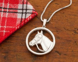 """Sterling Silver Horse Pendant, Silver Equestrian Jewelry, Sterling Silver Horse Jewelry, 1"""" in Diameter, ( # 693S )"""
