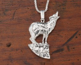 """Sterling Silver Howling Wolf Pendant, Hand Cut Sterling Silver Wolf Medallion, Wild Life Jewelry, 7/8"""" in Diameter, ( # 604S )"""