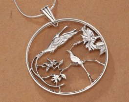 "Sterling Silver Hummingbird Pendant, Hand Cut Jamacian 10 Dollar Hummingbird Coin, Hummingbird Jewelry, 1 1/4"" in Diameter, ( # 564S )"