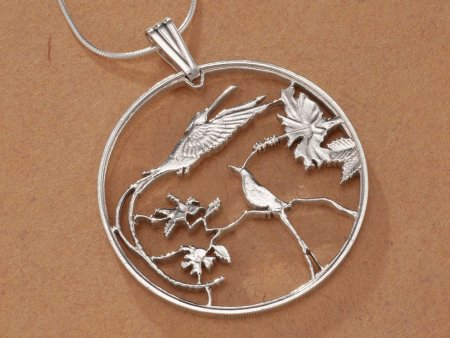 "Sterling Silver Hummingbird Pendant, Hand Cut Jamacian 10 Dollar Hummingbird Coin, Hummingbird Jewelry, 1 1/4"" in Diameter, ( # 564S )"