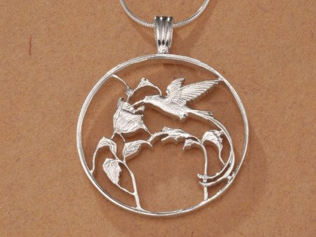 "Sterling Silver Hummingbird Pendant, Hand Cut Jamaican 25 Cents Hummingbird Coin, Silver Hummingbird Jewelry, 1 1/4"" in Diameter, ( # 209S )"