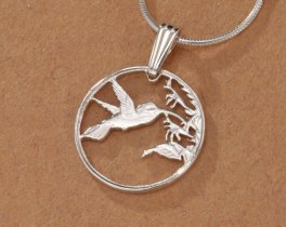 "Sterling Silver Hummingbird Pendant, Hand Cut Trinidad One Cent Hummingbird Coin, 5/8"" in Diameter, ( #298S )"