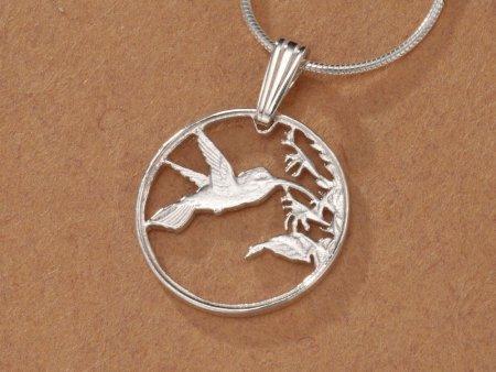 "Sterling Silver Hummingbird Pendant, Hand Cut Trinidad One Cent Hummingbird Coin, 5/8"" in Diameter, ( #298S )"