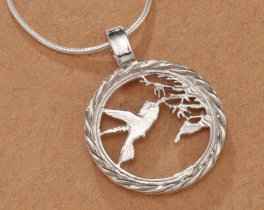 "Sterling Silver Hummingbird Pendant, Hand Cut Trinidad One Cent Hummingbird Coin, Hummingbird Jewelry, 3/4"" in Diameter, ( # 596S )"