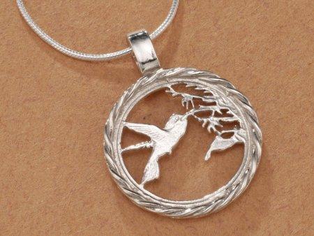 "Sterling Silver Hummingbird Pendant, Hand Cut Trinidad One Cent Hummingbird Coin, Hummingbird Jewelry, 3/4"" in Diameter, ( # 596S )"