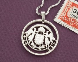 """Sterling Silver Hungarian Angel Pendant, Hand cut Hungary coin, Hungary Coin Jewelry, 1"""" in diameter, ( # 158S )"""