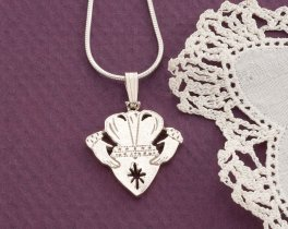 "Sterling Silver Irish Claddagh Pendant, Silver Irish Claddagh Jewelry, Silver Irish Jewelry, Irish Claddagh, 3/4"" diameter, ( # 835CS )"