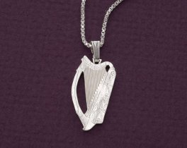 "Sterling Silver Irish Harp Pendant and Necklace, Hand Cut Irish Harp Coin, Ireland Coin Jewelry, 1"" in Diameter, ( # 418BS )"