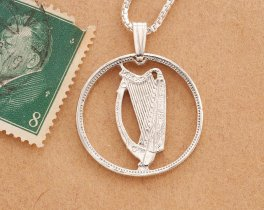 "Sterling Silver Irish Harp Pendant, Hand cut Ireland one shilling coin, Ireland Coin Jewelry, 3/4"" in diameterm ( # 171S )"