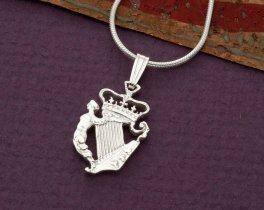 """Sterling Silver Irish Harp Pendant, Hand Cut Irish Harp Three Pence Coin, Irish Harp Jewelry, 3/4"""" in Diameter, ( # 163S )"""