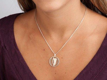 "Sterling Silver Irish Harp Pendant, Hand Cut Irish One Shilling Coin, 7/8"" in Diameter , ( # 175S )"