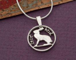 "Sterling Silver Irish Rabbit Pendant, Hand Cut Ireland Three Pence Rabbit Coin, Irish Rabbit Coin Jewelry, 5/8"" in Diameter, ( # 165S )"