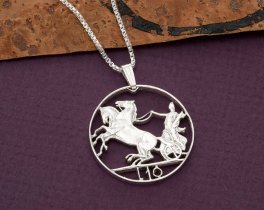 "Sterling Silver Italian Coin Jewelry, Hand Cut Italian 10 Lira Coin, 1"" in Diameter, ( # 204S )"