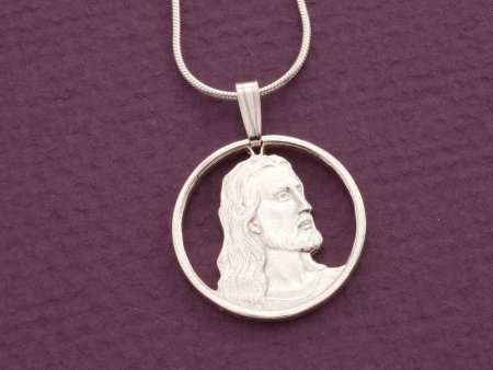 "Sterling Silver Jesus pendant and  necklace, Jesus pendant, Sterling Silver Religious jewelry, 3/4"" diameter, ( # 526S )"