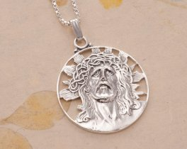 "Sterling Silver Jesus Pendant, Hand cut Religious Medallion, Silver Religious Jewelry, 1"" in Diameter, ( # 539S )"