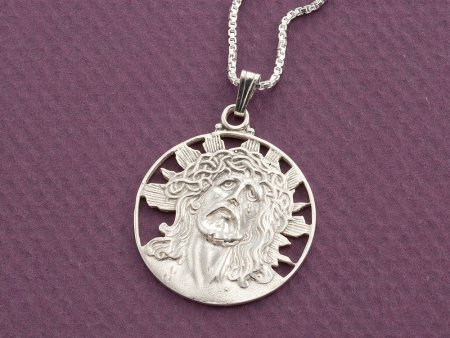 """Sterling Silver Jesus Pendant, Hand cut Religious Medallion, Silver Religious Jewelry, 1"""" in Diameter, ( # 539S )"""