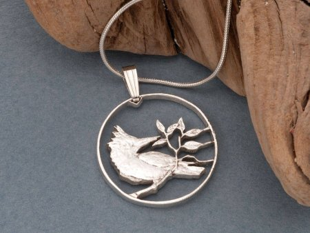 """Sterling Silver Kingfisher Pendant, Hand Cut British Virgin Islands 10 Cents Coin, 7/8"""" in Diameter ( # 45S )"""