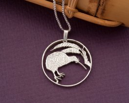 Sterling Silver Kiwi Pendant, Silver Kiwi Jewelry, New Zealand Jewelry, Kiwi GIfts, Womans Gifts, New Zealand Coin Jewelry, ( # 238S )