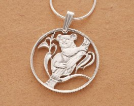 "Sterling Silver Koala Bear Pendant and Necklace, Hand Cut Australian Koala Bear Coin Pendant, 7/8"" in Diameter, ( # 392S )"