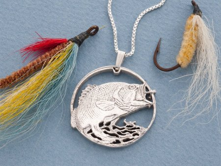 """Sterling Silver Large Mouth Bass Pendant, Hand cut Large Mouth Bass medallion, Bass Jewelry, Fisherman Gifts, 1 1/4"""" diameter, ( # 731S )"""