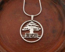 """Sterling Silver Lebanese Cedar Tree Pendant, Hand Cut Lebanese 50 Piastres Cedar Tree Coin, Lebanese Jewelry, 1"""" in Diameter, ( # 608S )"""
