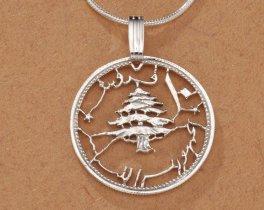 "Sterling Silver Lebanese Cedar Tree Pendant, Hand Cut Lebanese Cedar Tree Coin, Lebanese Coin Jewelry, 7/8"" in Diameter, ( # 229S )"