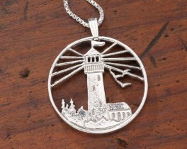 "Sterling Silver Lighhouse Pendant, Hand Cut Sterling Silver Lighthouse Medallion, 1 1/8"" in Diameter, ( # 759S )"