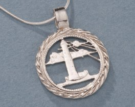 "Sterling Silver Lighthouse Pendant, Hand Cut Barbados Five Cent Lighthouse Coin, Nautical Jewelry, 7/8"" in Diameter, ( # 721S )"