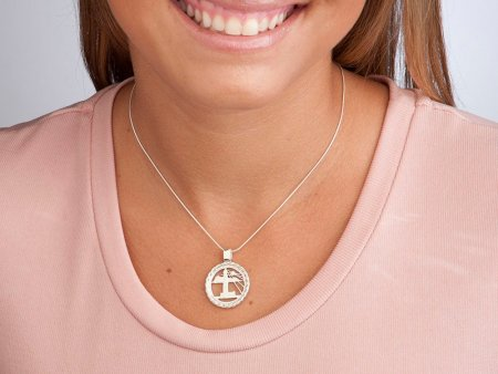 """Sterling Silver Lighthouse Pendant, Hand Cut Barbados Five Cent Lighthouse Coin, Nautical Jewelry, 7/8"""" in Diameter, ( # 721S )"""
