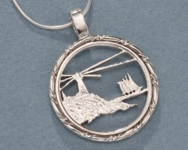 """Sterling Silver Lighthouse Pendant, Hand Cut Maine State Quarter Lighthouse Coin, Lighthouse Jewelry, 1"""" in Diameter, ( # 779S )"""