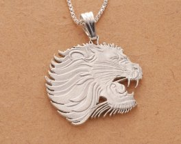 "Sterling Silver Lion Pendant and Necklace, Hand Cut Ethiopian Lion Coin, African Wild life Jewelry, 1 1/8"" in Diameter, ( # 459S )"
