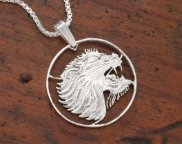 Sterling Silver Lions Head Pendant, Hand Cut Ethiopian Lion Coin, Silver African Lion Jewelry, African Wild Life Jewelry  ( # 95S )