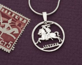 """Sterling Silver Lithuanian Coin Pendant, Hand Cut Lithuanian Coin Jewelry, Lithuanian Coin Jewelry, 3/4"""" in Diameter, ( # 227S )"""