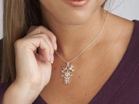 "Sterling Silver Love Bird Pendant, Hand cut sterling Silver Rose and Love Birds Pendant, Lovers Jewelry, 1 3/4"" X 1"" , ( # 586S )"