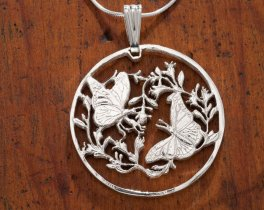 "Sterling Silver Monarch Butterfly Pendant, Hand Cut Bermuda Monarch Butterfly Coin, 1 1/4"" in Diameter, ( # 493S )"
